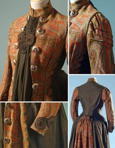 Dress ca. 1885 with bustle back, made from wool Kashmiri shawls. Gregg Museum, North Carolina State Univ.