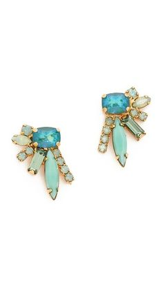 57380c74d38055 Elizabeth Cole Floating Stone Earrings #dotshopsave Aquamarine Stone, Stone  Earrings, Swarovski Crystals,