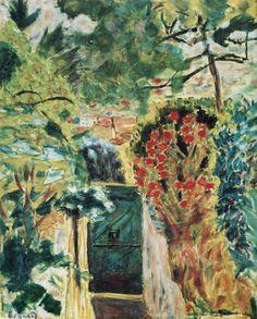 Pierre-Bonnard, 1943, vers-La-Porte-de-la-villa-le-Bosquet-Vue-du-jardin