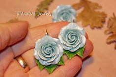 Set Blue Sky Earrings and Ring Polymer clay di TatianArtJewelry
