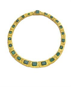 AN EMERALD AND GOLD NECKLACE, BY PAUL FLATO   Designed as a series of graduated textured gold links, each centering upon a rectangular or square-cut emerald, 16¾ ins.  Signed Flato for Paul Flato