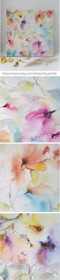 Original watercolor floral painting. Picture with abstract flowers for home decor. Delicate watercolor flowers painted on canvas.