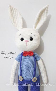 Tiny Mini Design-Amigurumi Bunny Free Crochet Pattern (English, Turkish), #haken, gratis patroon (Engels, Turks), konijn met broek, knuffel, speelgoed, Pasen, #haakpatroon