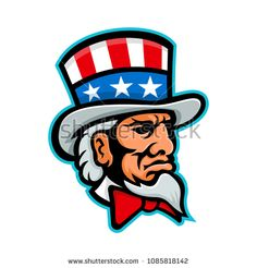 Mascot icon illustration of head of Uncle Sam, a popular symbol of the US government in American culture and patriotism, wearing a top hat with USA flag viewed from side done in retro style. Free Vector Images, Vector Free, Usa Flag, Retro Fashion, Royalty Free Stock Photos, Signages, Symbols, Sports Logos, Retro Illustration