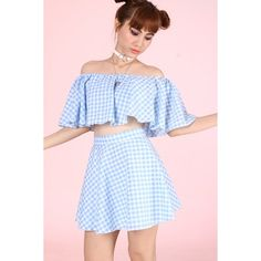 Made To Order Lolita Blue Gingham top (50 AUD) ❤ liked on Polyvore featuring tops, off shoulder tops, off shoulder crop top, blue top, blue crop top and off the shoulder tops