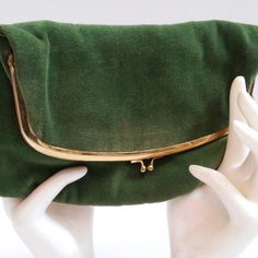 This vintage 1950s forest green velvet and satin lined fold over clutch purse has just arrived in the shop! Perfect for a vintage inspired dinner party!