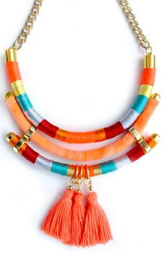 Orange Neon necklace native inspired jewelry fringed by tashtashop
