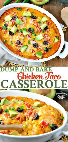 This Cheesy Dump-and-Bake Chicken Taco Casserole is an easy dinner recipe that's a perfect one pot meal! Chicken Breast Recipes #TheSeasonedMom #chicken #dinner #chickendinner #dumpandbake #chickentaco #tacocasserole