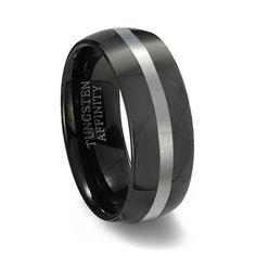 A little bit of old and a little bit of new. This polished black tungsten carbide ring has it all. Classic dome shape band with a brushed accent.
