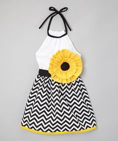 Another great find on #zulily! Yellow & Black Chevron Flower Dress - Infant, Toddler & Girls by Little Miss Fashion #zulilyfinds