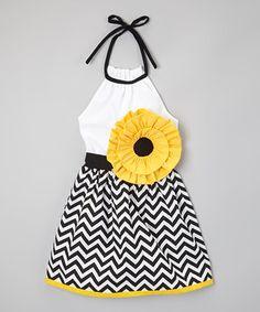 Another great find on #zulily! Yellow & Black Chevron Flower Dress - Infant, Toddler & Girls by Little Miss Fashion #zulilyfinds