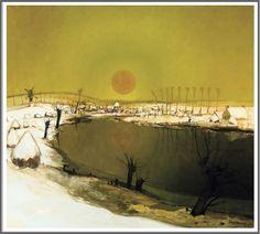 Albert Saverys (1886-1964), Vue de la Lys avec coucher de soleil - 1928