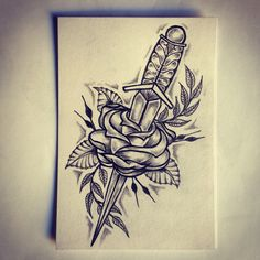 Dagger / Rose tattoo sketch / drawing / tattoo ideas by - Ranz