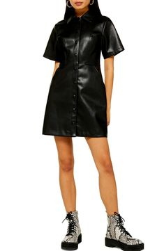 A classic short-sleeve shirtdress takes a glam turn with sleek faux-leather composition. Style Name:Topshop Faux Leather Shirtdress. Style Number: Available in stores. Topshop Outfit, Faux Leather Dress, Leather Dresses, Plus Clothing, Topshop Clothing, Nordstrom Sale, Winter Sale, Shirtdress, Clothes For Women