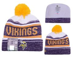 f1beff2bd44 Men s   Women s Minnesota Vikings New Era 2016 NFL Snow Dayz Knit Pom Pom  Beanie Hat - White   Purple   Gold