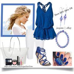 """Multicolor Blue Turkey Turquoise Set with White Capris"" by jacqueline-jordan on Polyvore. Save 20% on Earrings/Bracelet Set thru 7/8 http://r.ebay.com/6PgKbY"