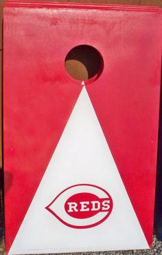 Cincinnati Reds cornhole boards with bags by Chrisandcarabear, $99.99
