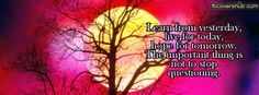 Learn from Yesterday Fb Cover Fb Covers, This Or That Questions, Learning, Words, Quotes, Facebook, Quotations, Studying, Teaching