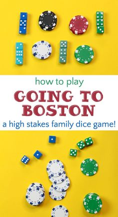 Going to Boston Dice Game: High Stakes Family Fun How to play Going to Boston, a fast-paced, easy to learn family dice game that can be played with or without stakes. Such a fun family game! Games To Play With Kids, Water Games For Kids, Play N Go, Board Games For Kids, Craft Activities For Kids, Summer Activities, Family Games Indoor, Family Card Games, Fun Card Games