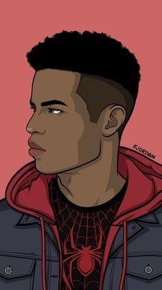 58 Mesmerizing Illustrated Male Portraits - New Miles Spiderman, Miles Morales Spiderman, Black Spiderman, Ultimate Spider Man, Dope Cartoon Art, Dope Cartoons, Arte Dope, Dope Art, Spiderman Kunst