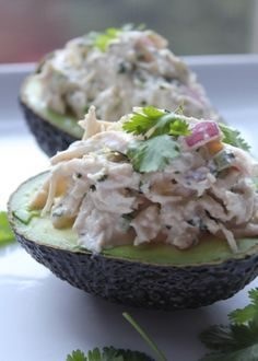 Cilantro-Lime Jalapeno Chicken Salad in Avocados - sounds amazing, but I'd have to leave the cilantro out...