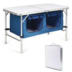 Height Adjustable Folding Camping Table #ad Foldable Picnic Table, Outdoor Folding Table, Folding Camping Table, Table Camping, Folding Desk, Camping Gear, Desk Legs, Table Legs, Storage Organization