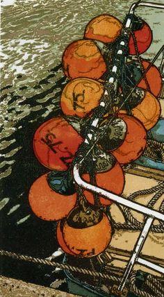 """Floats"" Linocut by H J Jackson http://www.birchamgallery.co.uk/catalogue/artist/H.J.:Jackson/biography/?category=prints. Tags: Linocut, Cut, Print, Linoleum, Lino, Carving, Block, Woodcut, Helen Elstone, Sea, Water, Boats, Reflection."