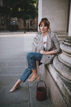 Plaid blazer with raw hem denim and slingbacks.