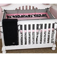 @Overstock - Complete your baby girl's nursery with this adorable Girly 4-piece crib bedding set from Cotton Tale. The bedding set includes the bumper, fitted crib sheet, coverlet, and a dust ruffle in a sweet pink, black and white color palette.http://www.overstock.com/Baby/Cotton-Tale-Girly-4-piece-Crib-Bedding-Set/6657856/product.html?CID=214117 $144.99
