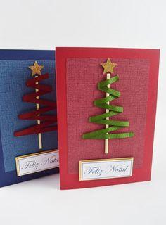 Como fazer um Cartão de Natal com papéis e fita