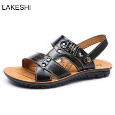 3b0c2328b2bb73 Men s Sandals · LAKESHI Fashion Sandals Men Summer Casual Beach Shoes Men  Water Shoes Leather Sandals  Affiliate