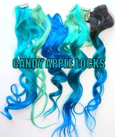 Mermaid Hair Extensions Clip in Hair by CandyAppleLocks on Etsy Great concept. I'll have to give it a try