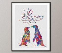 Penguin Love Watercolor Art Print Geek Nerd Love by CocoMilla