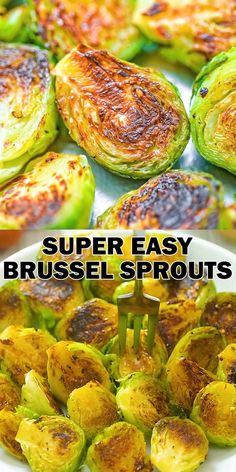 This is my go-to recipe for Brussel sprouts. It is super easy to make and ridiculously tasty! These Pan-Fried Brussel Sprouts require just a few common ingredients, and they always come out very tender and succulent. Give it a try and you'll be eat Healthy Vegetable Recipes, Healthy Vegetables, Healthy Dinner Recipes, Healthy Brussel Sprout Recipes, Easy Recipes, Easy Recipe For Brussel Sprouts, Brusell Sprouts Recipe, Recipes For Vegetables, Vegetarian Recipes