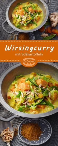 Wirsingcurry mit Süßkartoffeln Vegan Fall Recipes Savoy curry with sweet potatoes: Quick vegan curry with sweet potatoes, savoy cabbage and sugar snap peas - vegan, vegetarian, lactose-free Rezepte Fall Recipes, Asian Recipes, Ethnic Recipes, Good Healthy Recipes, Vegetarian Recipes, Quick Recipes, Vegan Vegetarian, Paleo, Healthy Foods