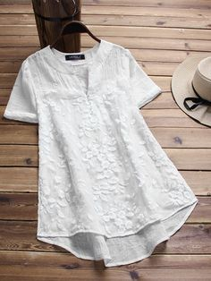 Embroidery Vintage Vintage Floral Embroidery Patchwork Irregular Short Sleeve Blouse for Women - Cheap Blouses, Blouses For Women, Women's Blouses, Short Sleeve Blouse, Short Sleeve Dresses, Short Sleeves, Long Sleeve, Mode Cool, Mexican Blouse