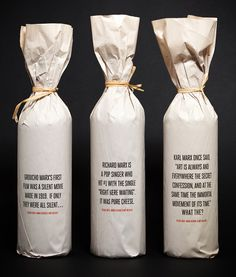 It's unlikely that I'll ever be giving out wine, but I like this packaging idea. Classsaaaaay/cooool.
