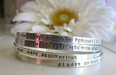 The Four Agreements by wildflowerbeads on Etsy The Four Agreements, Cuff Bracelets, Bangles, Diy Crafts To Do, I Feel Pretty, Your Word, Good Thoughts, Life Inspiration, Jewelry Design