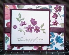 Hmlopez, thinking of you card, Stampin up, painted petals, painted blooms DSP
