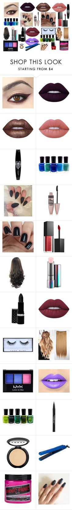 """""""fave beauty products"""" by hopegreen on Polyvore featuring Lime Crime, Zoya, Maybelline, Smashbox, MAC Cosmetics, Hard Candy, Huda Beauty, NYX, Fiebiger and Trish McEvoy"""