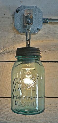 Ball Jar Light via Funky Junk Interiors