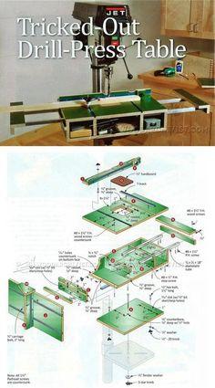 Extendable Drill Press Table Plans - Drill Press Tips, Jigs and Fixtures | WoodArchivist.com
