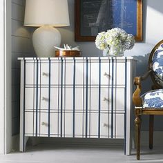 nauyical painted furniture | ... Bay Cottage Awning Stripe Chest By Bassett – Painted Furniture