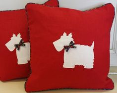 Scotty dog linen cushion - product image