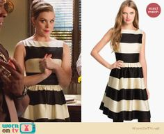 6fa80b45ea AnnaBeth s black and white striped dress on Hart of Dixie. Outfit Details   http