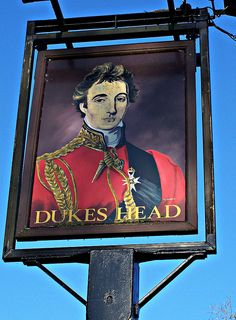 The Dukes Head Pub Sign on the road between Romsey and Michelmersh,in Hampshire, England.