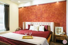 8 Bedroom Accent Wall Designs That are Trending Asian Paints Wall Designs, Paint Designs, Flat Interior Design, Wooden Panelling, Small Master Bedroom, Accent Wall Bedroom, Guest Bedrooms, White Walls, Furniture Design