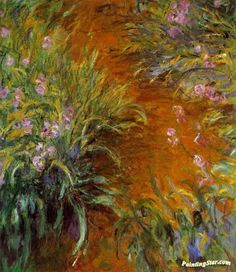 The Path through the Irises Artwork by Claude Oscar Monet Hand-painted and Art Prints on canvas for sale,you can custom the size and frame