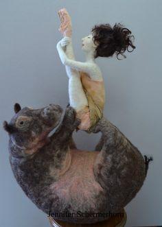 Hippocampus - needle felted wool on wire armature. Jennifer Schermerhorn 2015. Art Doll