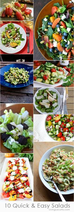 10 Quick and Easy Salad Recipes! Add with pizza for simple entertaining!